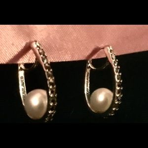 Jewelry - Marcasite Pearl Sterling Silver Earrings